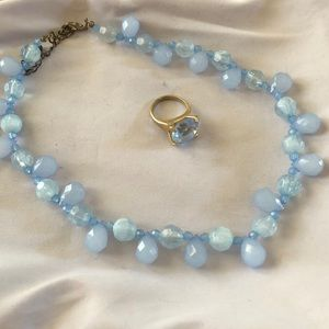 Jewelry - Classic Ice Blue Beaded Necklace and Ring